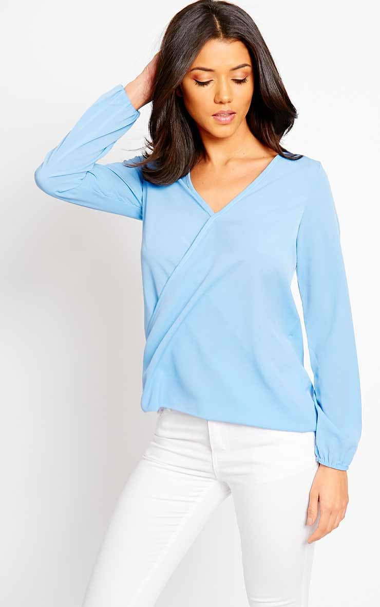 Julie Powder Blue Cross Front Blouse 3