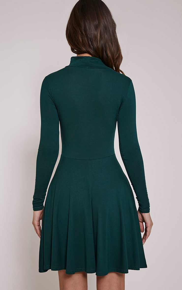 Basic Bottle Green High Neck Skater Dress 2