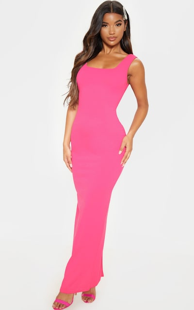 44feab5e85 Hot Pink Square Neck Open Back Maxi Dress