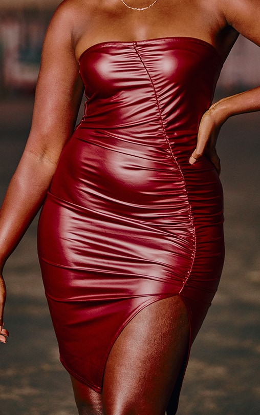 Burgundy PU Ruched Front Bandeau Bodycon Dress 4