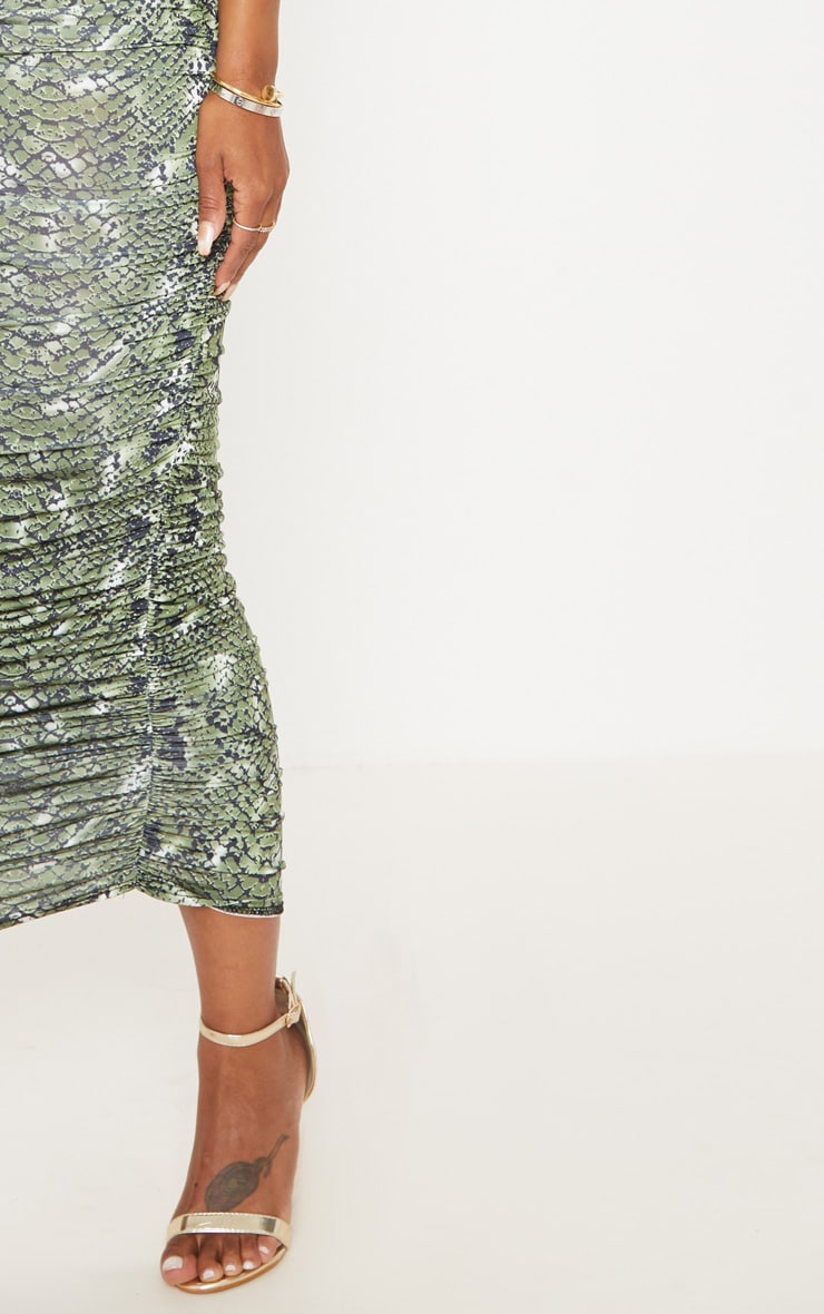 Shape Green Snake Print Ruched Midi Skirt 5
