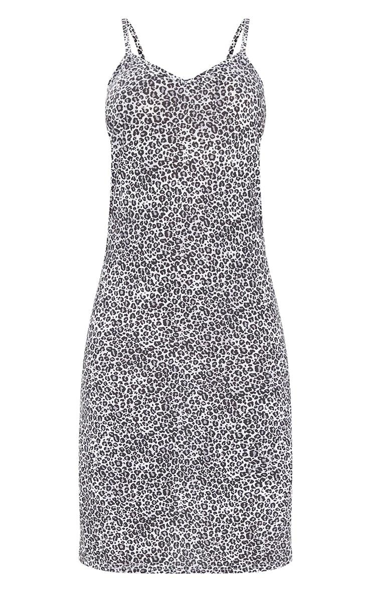 Black Leopard Jersey Split Cami Midi Dress 5