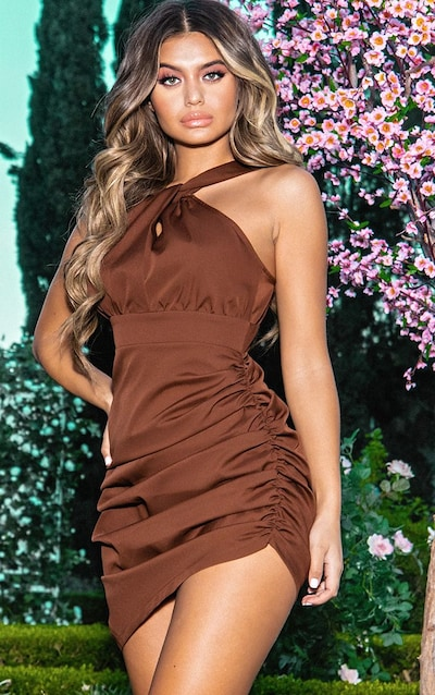 Chocolate Brown Ruched Side High Neck Midi Dress