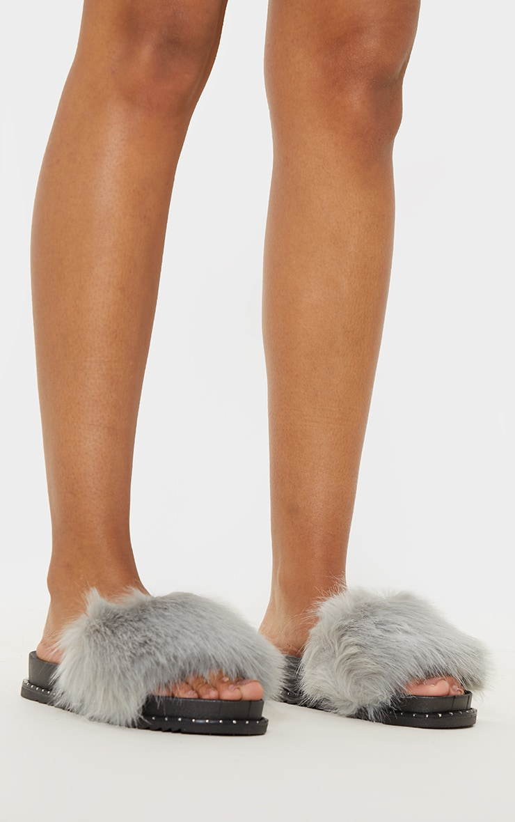 Grey Faux Fur Studded Slider 2