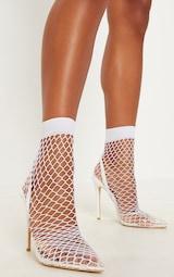 559b98205b White Fishnet Slingback Pointed Heels | Shoes | PrettyLittleThing