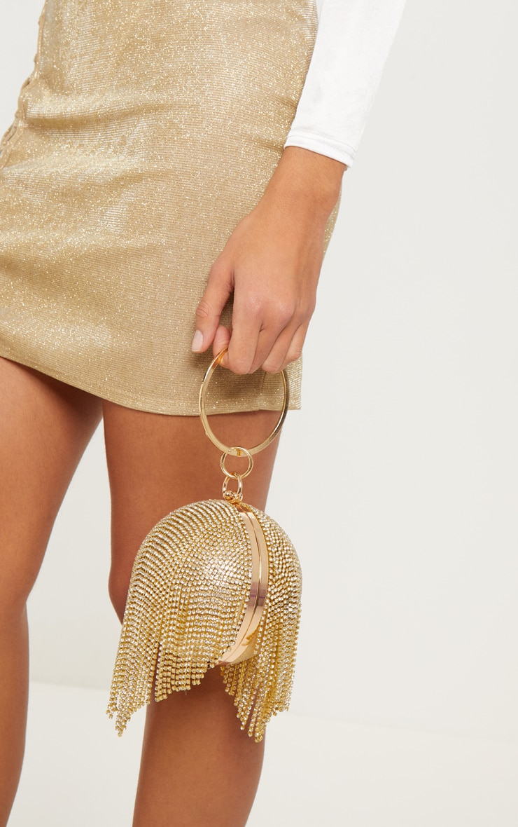 Gold Diamante Tassel Sphere Clutch 1