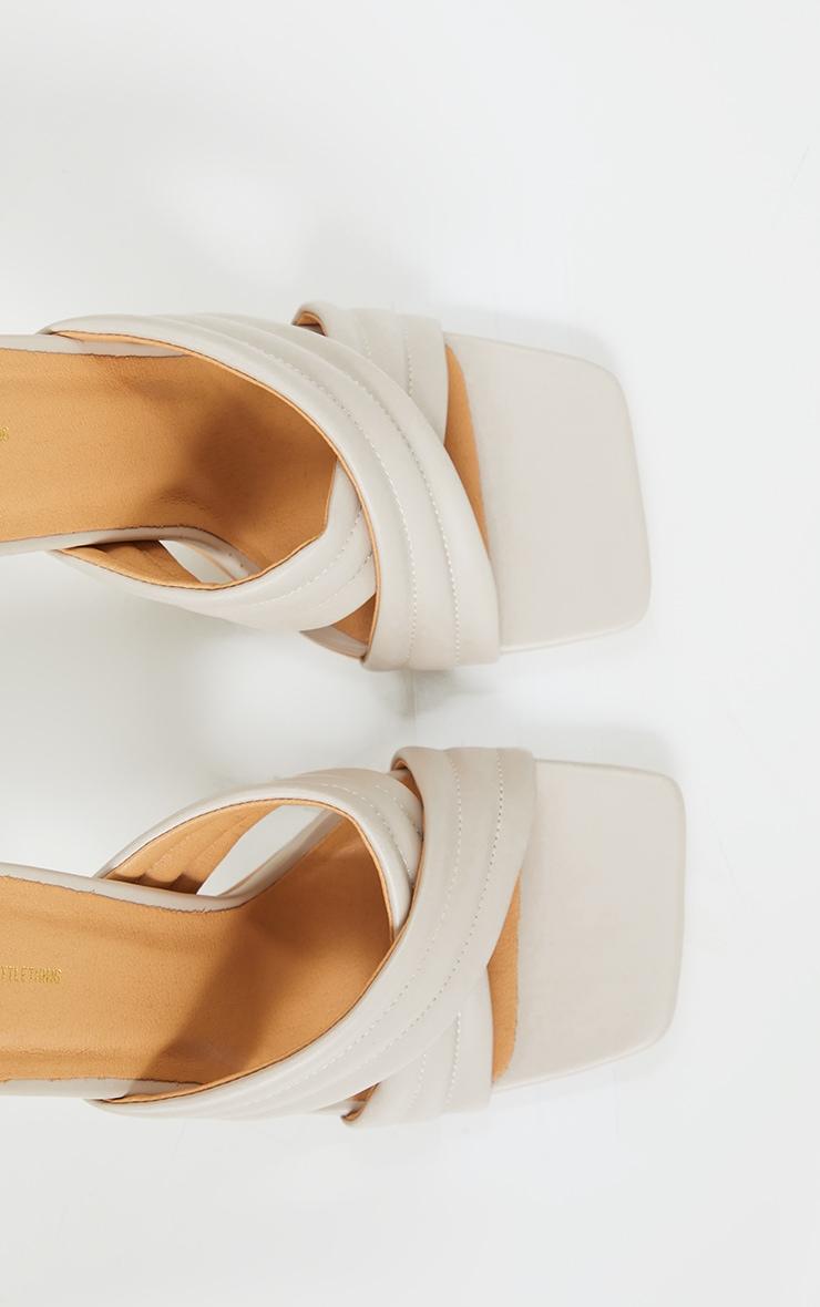 Cream Tube Cross Strap Mule Heels 4