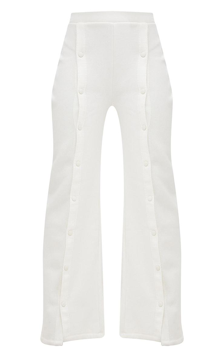 Cream Front Popper Wide Leg Joggers 3