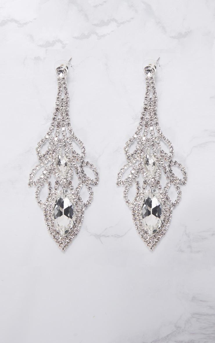 Silver Oval Diamante Drop Earrings 3