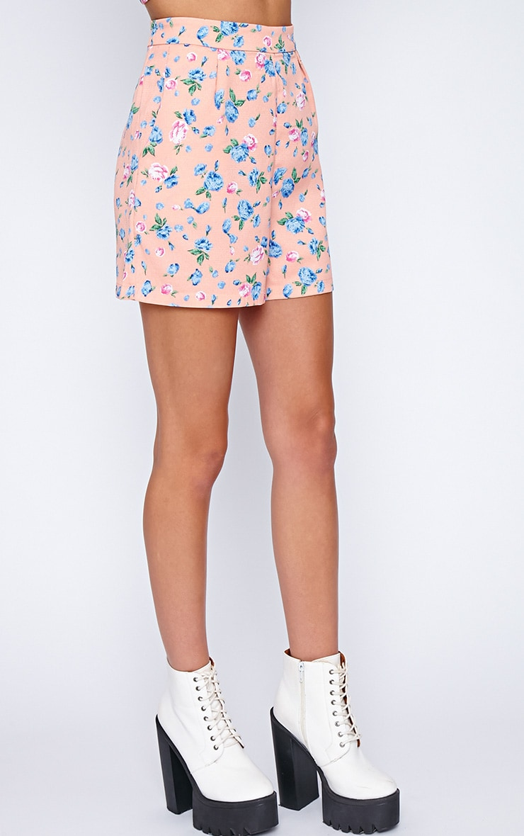 Aleah Pink Floral Tailored Shorts 4