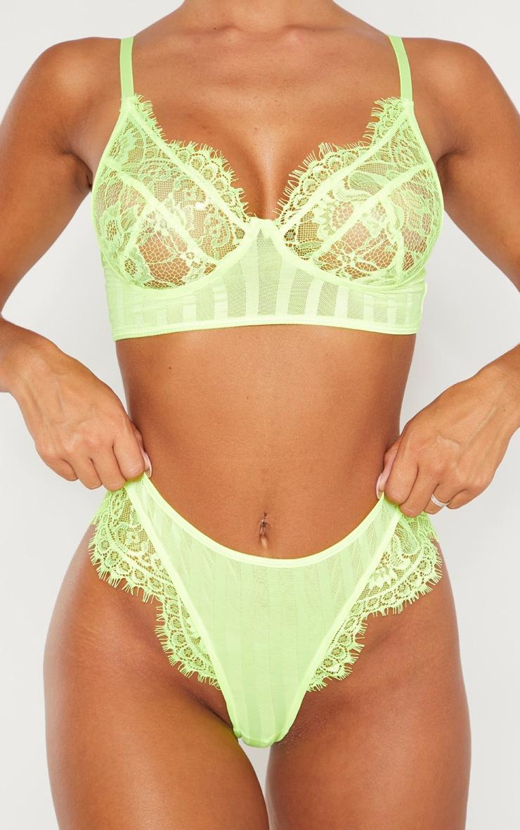 Neon Lime Striped Lace High Leg Thong 4
