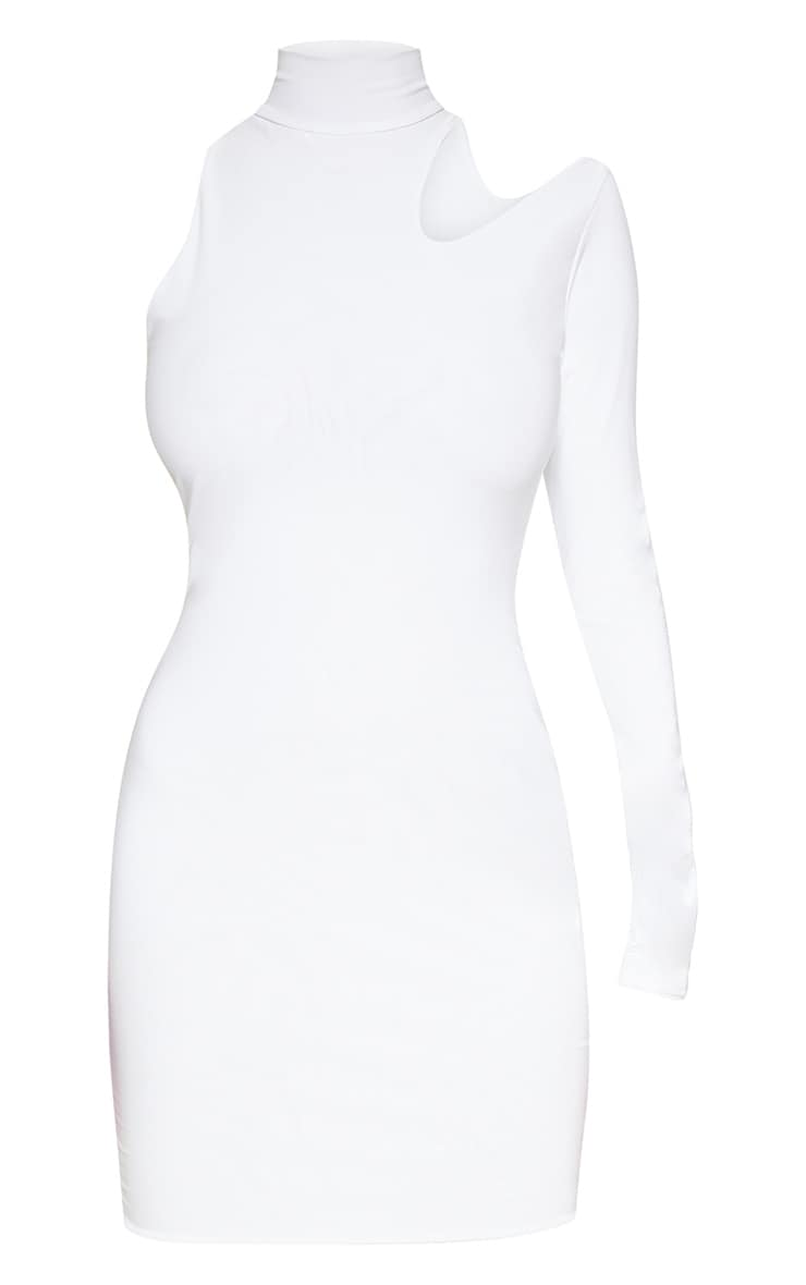 White High Neck One Shoulder Bodycon Dress 3