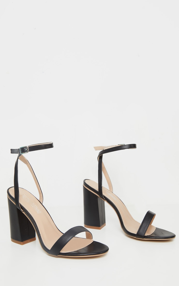 Black Wide Fit Block Heel Strappy Sandal 3