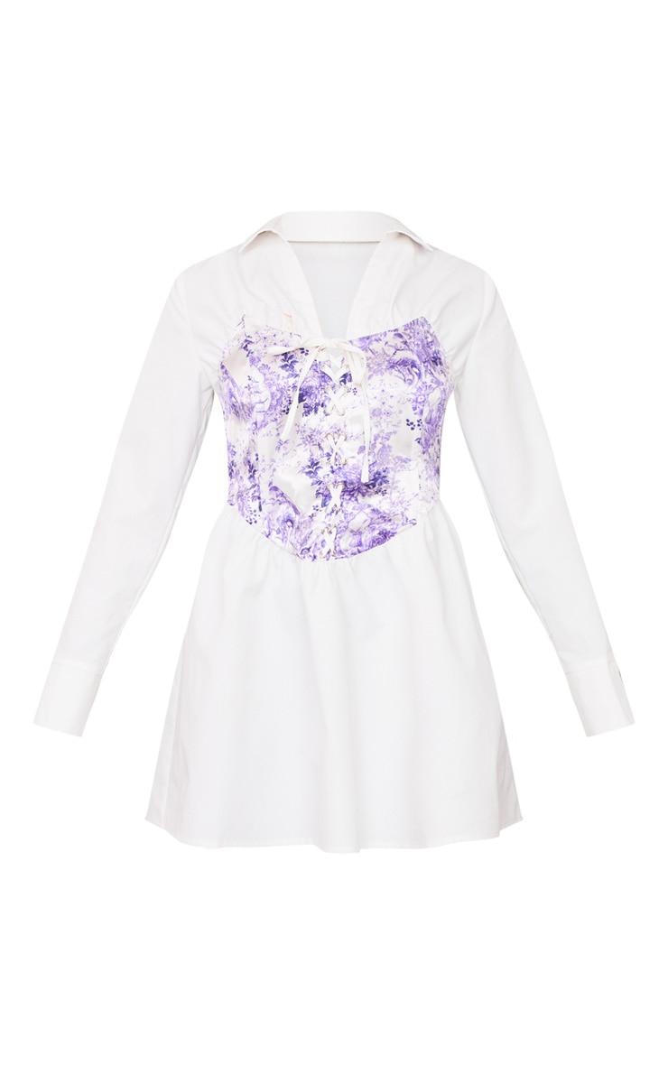 Robe chemise blanche à corset imprimé lacé et manches longues  6