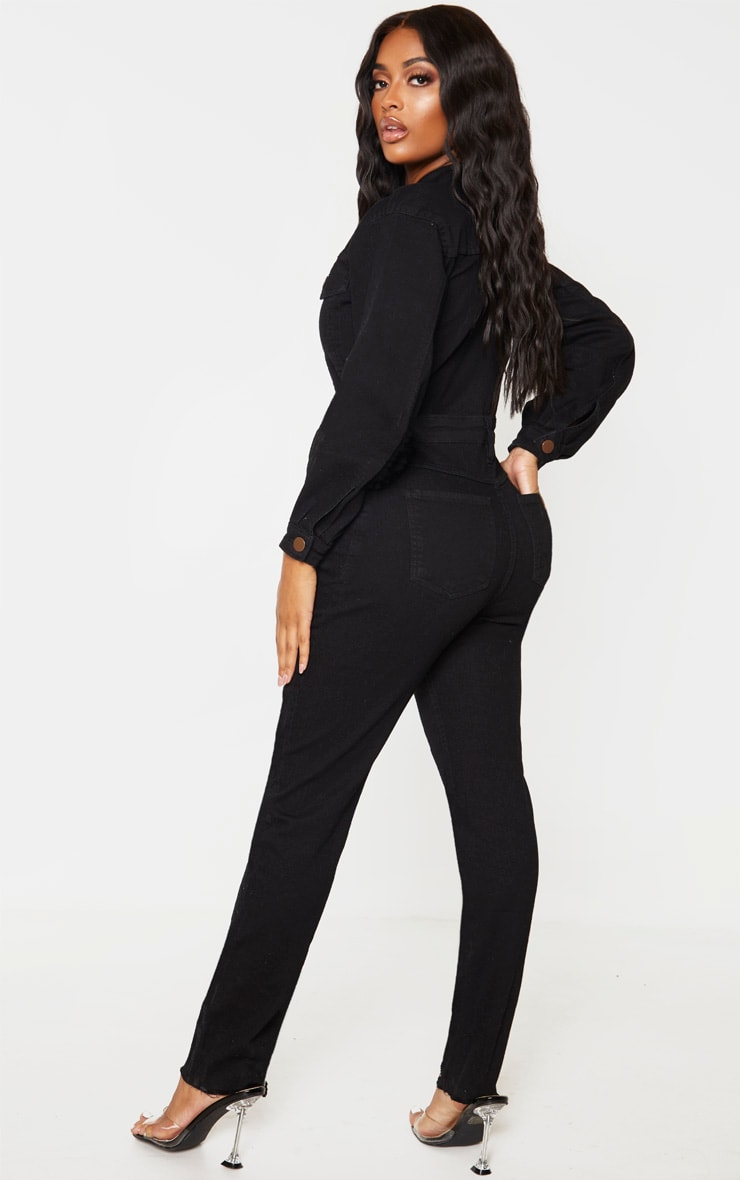 Shape Black Denim Zip Front Jumpsuit 2