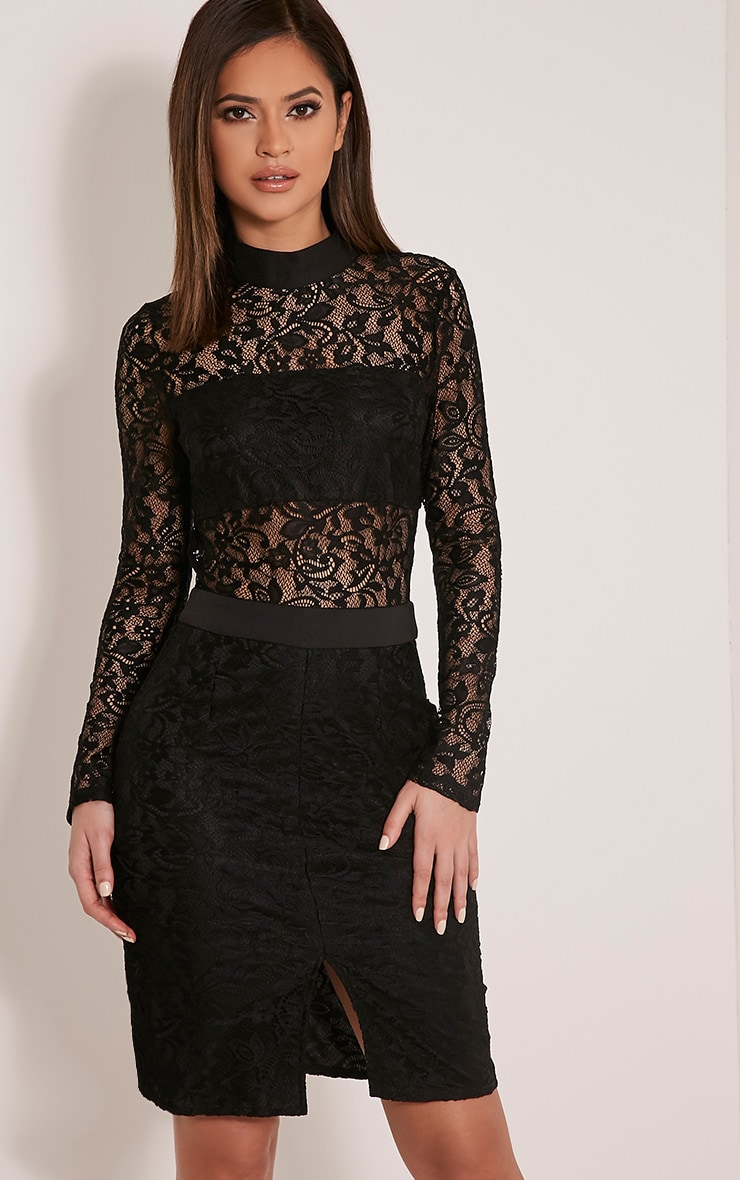 Viola Black High Neck Lace Midi Dress 1