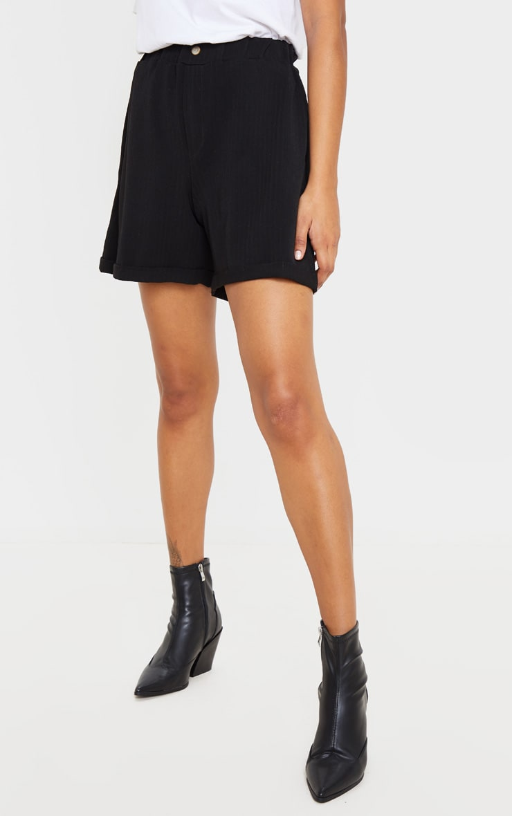 Black Turn Up Hem Tailored Short 2