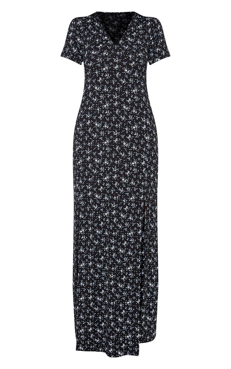 Recycled Black Ditsy Floral Print Split Detail Maxi Dress 5