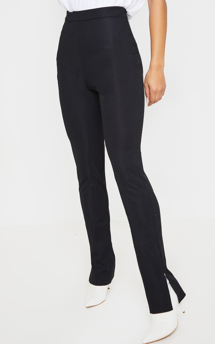 Black Ribbed Skinny Split Hem Trouser 2