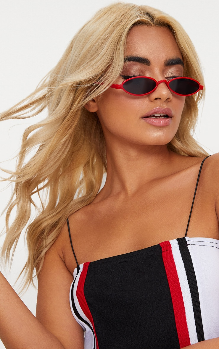 Red Small Oval Sunglasses 1