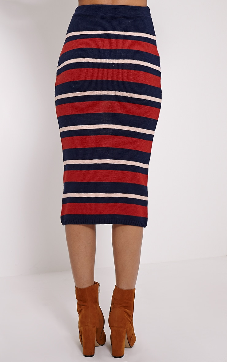 Aurora Navy Stripe Knitted Midi Skirt 4