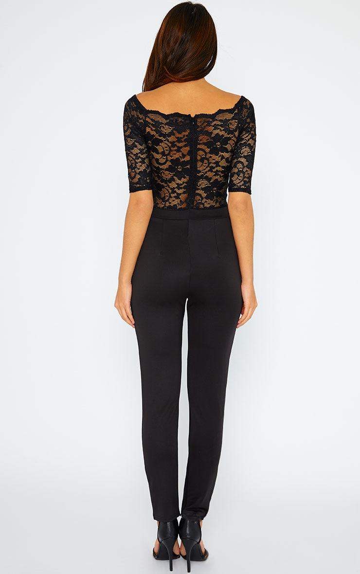 Leila Black SS Lace Jumpsuit 2