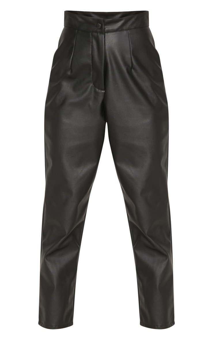 Petite Black Faux Leather Slim Leg Trousers 3
