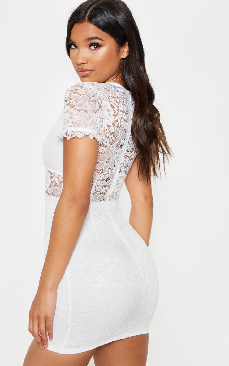 White Lace Cap Sleeve Bodycon Dress 2