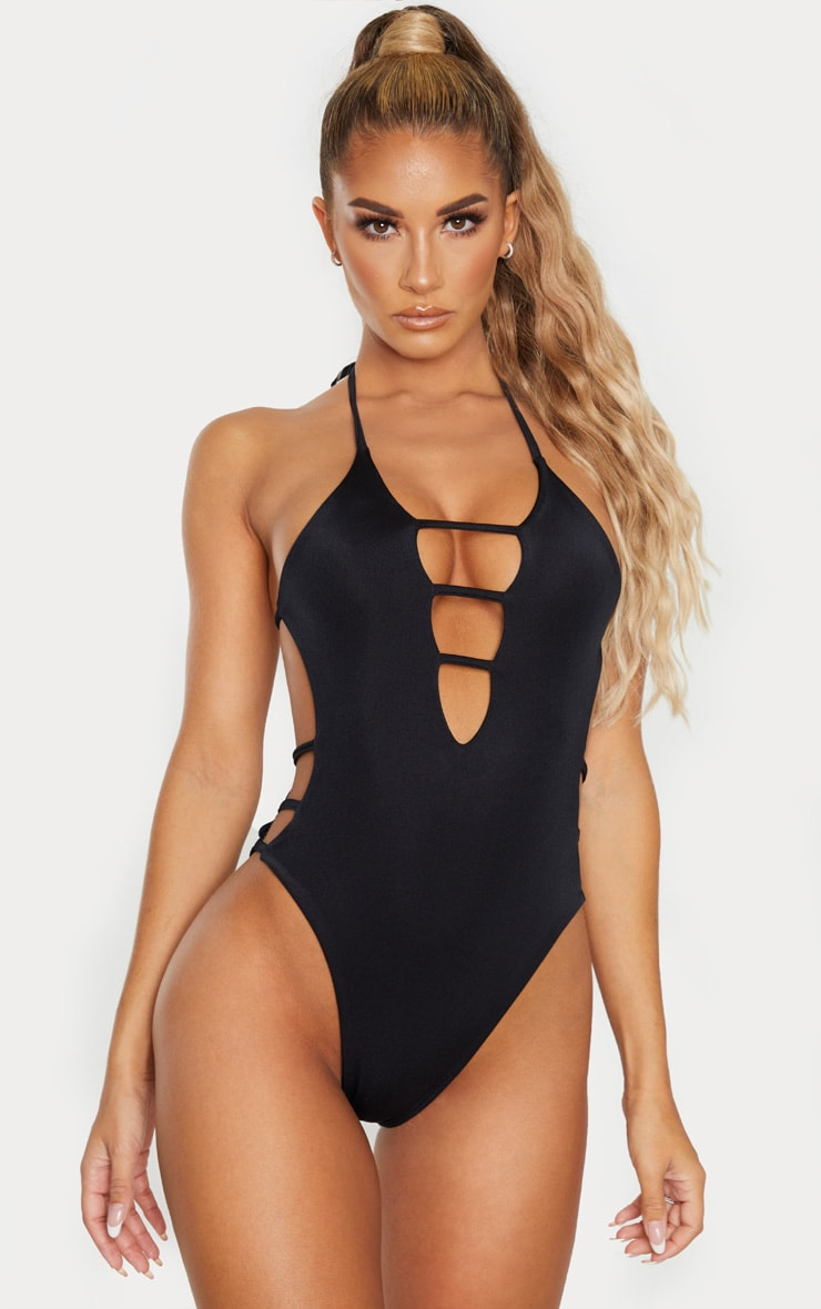 Black Plunge Strappy Cut Out Swimsuit 1