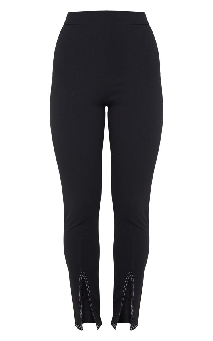 Black Contrast Stitch Split Front Leggings 3