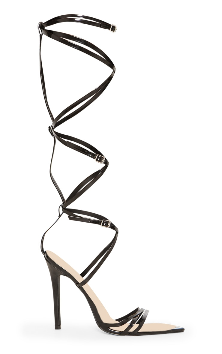 Black Extreme Gladiator Point Heels 3