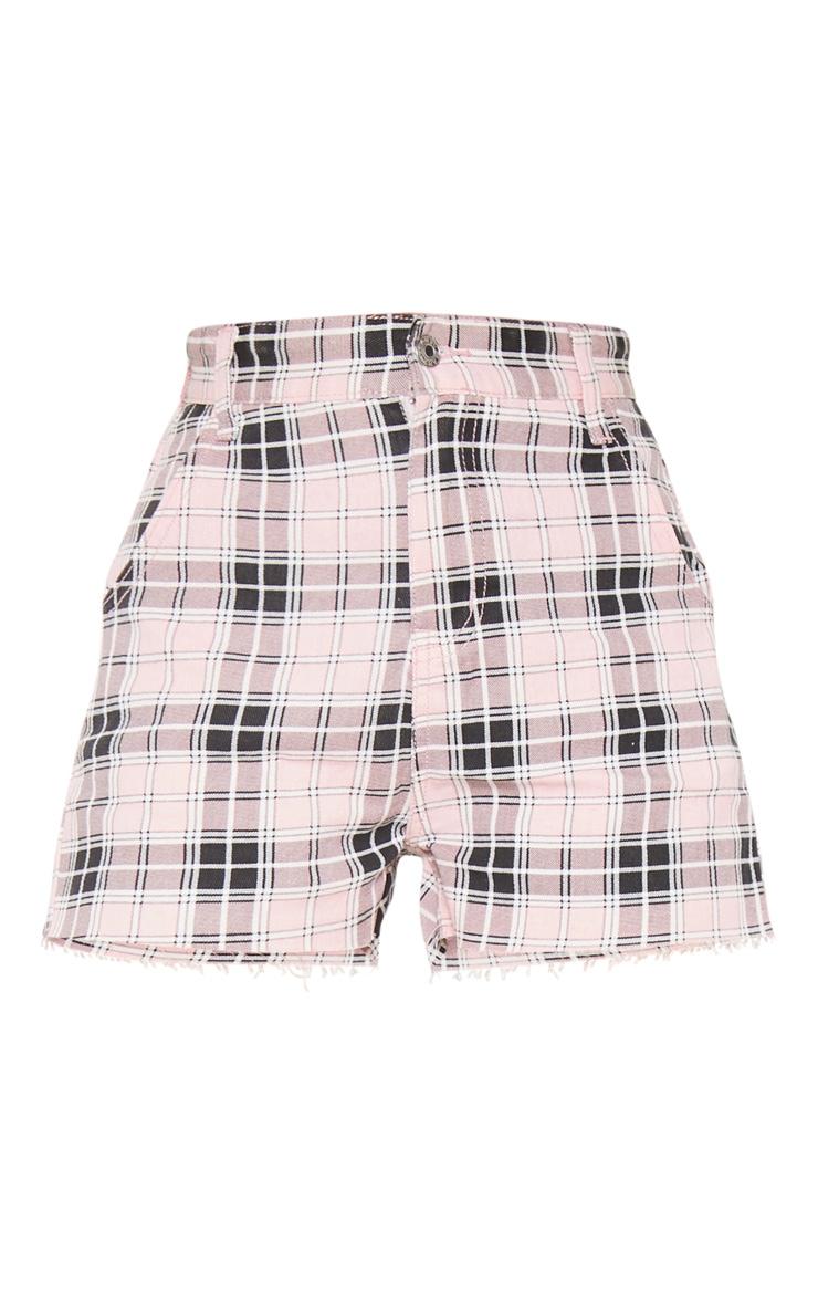 Pink Checked Denim Shorts 3