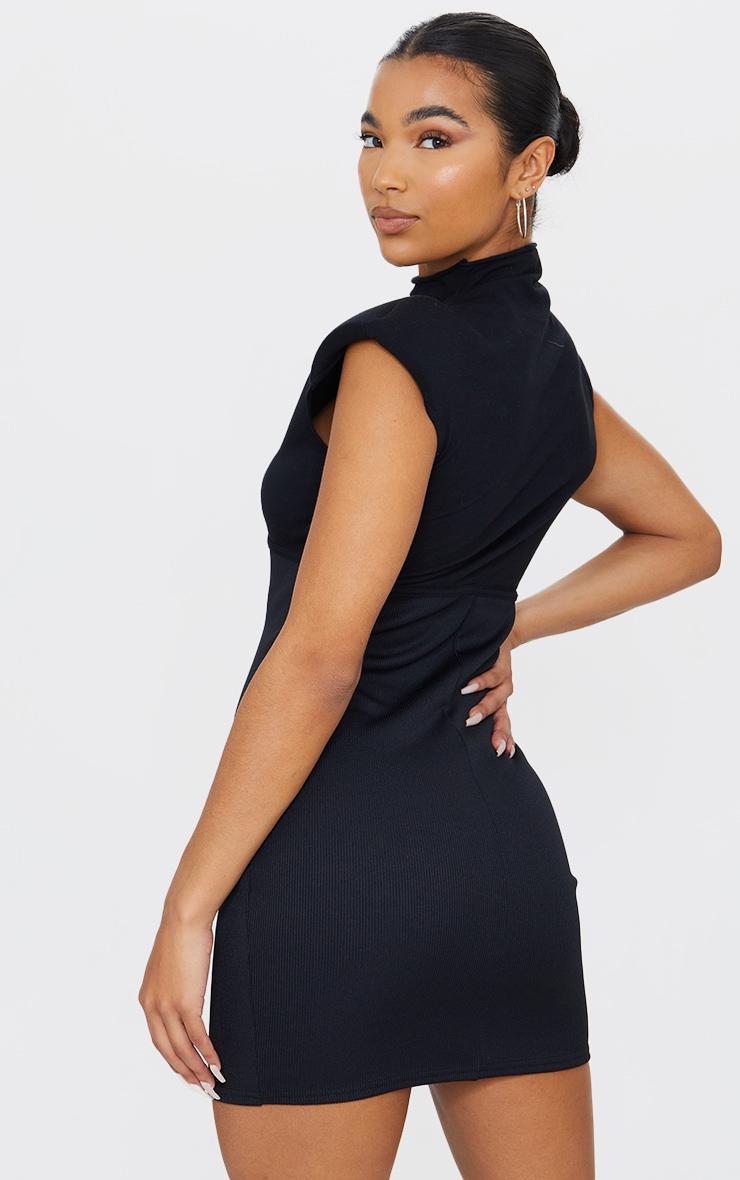 Black Shoulder Pad Underbust Binding Sleeveless Bodycon Dress 2
