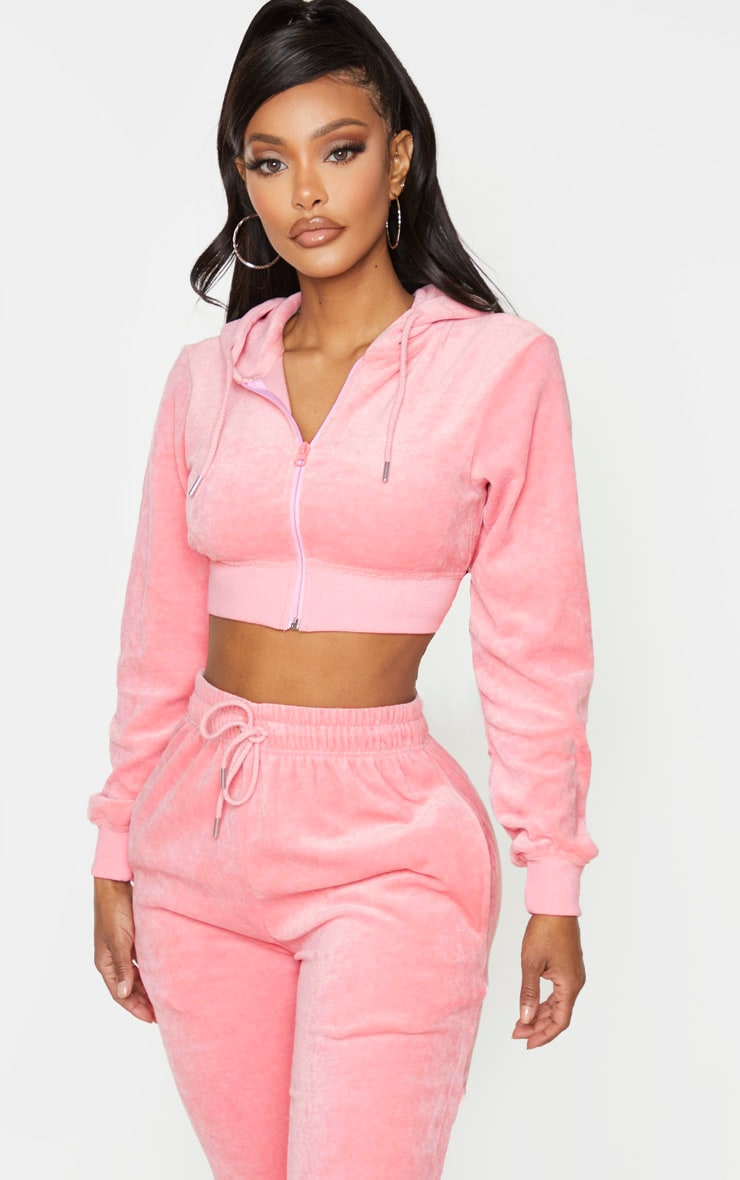 PRETTYLITTLETHING Shape Dusty Pink Velour Extreme Crop Sweater 2