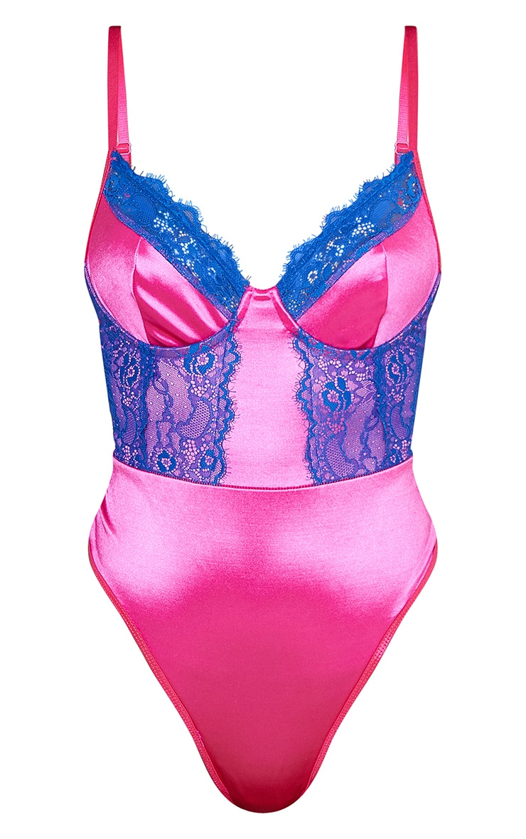 Pink Contrast Lace Satin Body 5