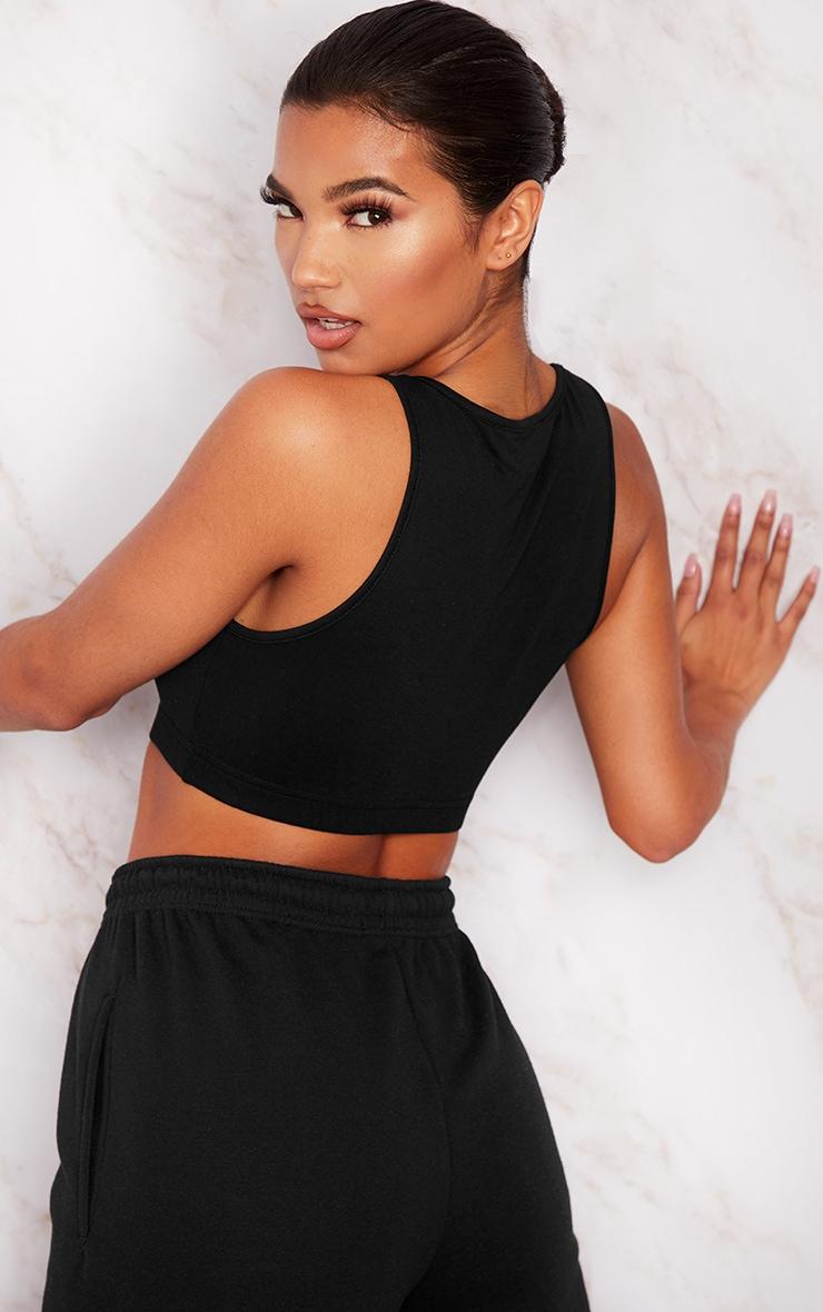 Basic Black Cotton Blend Sleeveless Elastic Hem Crop Top 2
