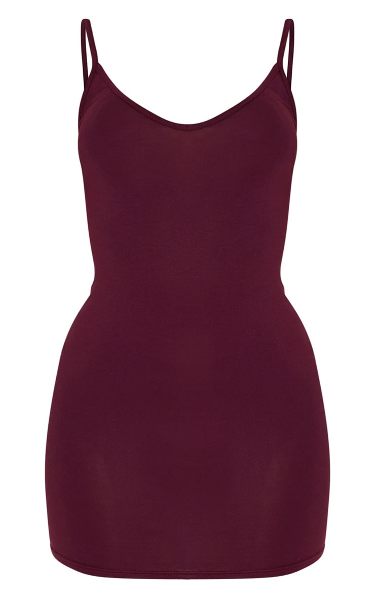 Plum Basic Extreme Plunge Strappy Bodycon Dress 3