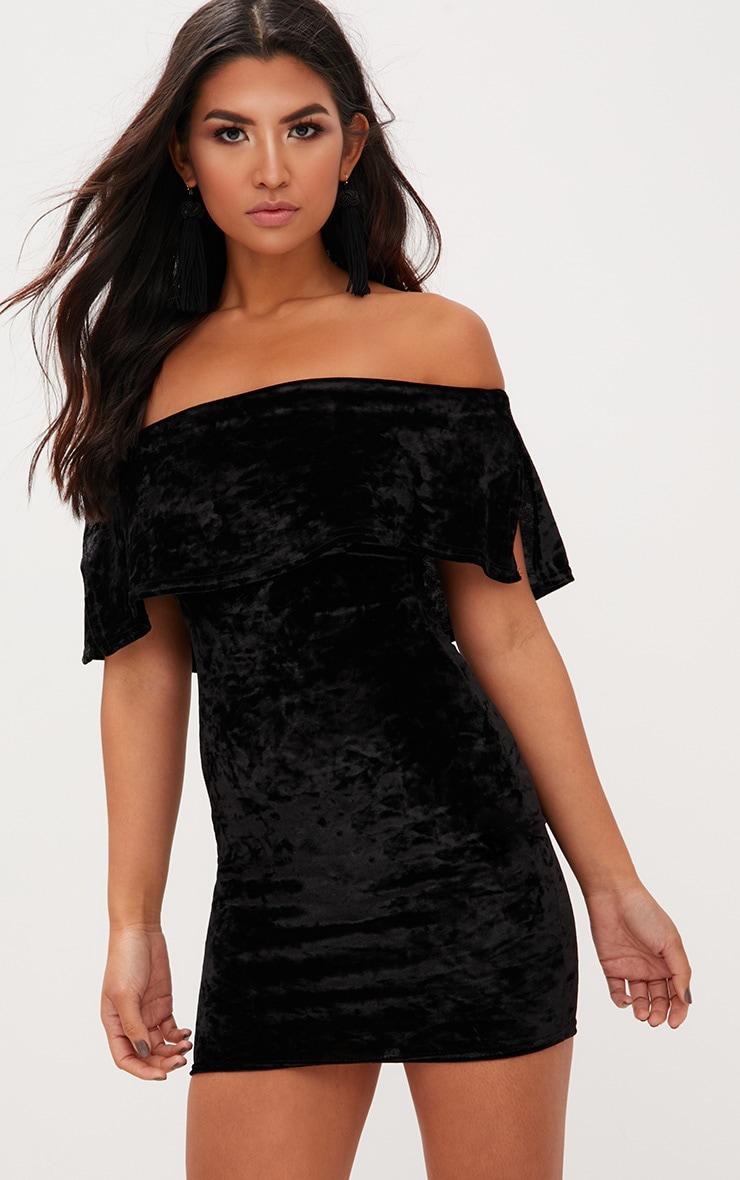 Black Crushed Velvet Bardot Frill Bodycon Dress  1