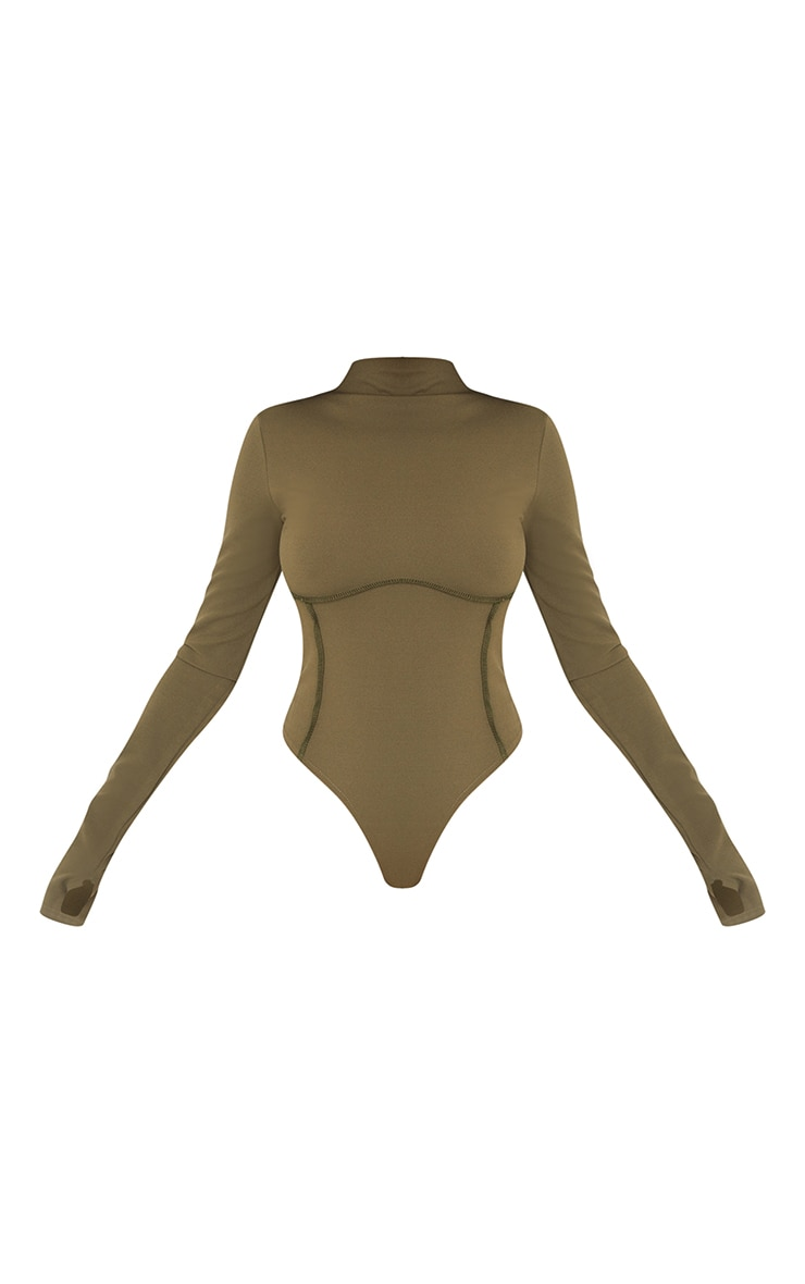 Khaki High Neck Underbust Seam Detail Long Sleeve Bodysuit 5