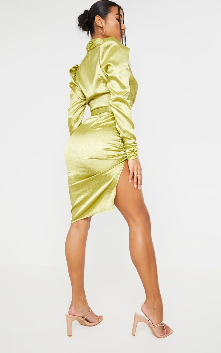 Sage Green Satin Jacquard Ruched Sleeve Wrap Midi Dress 2
