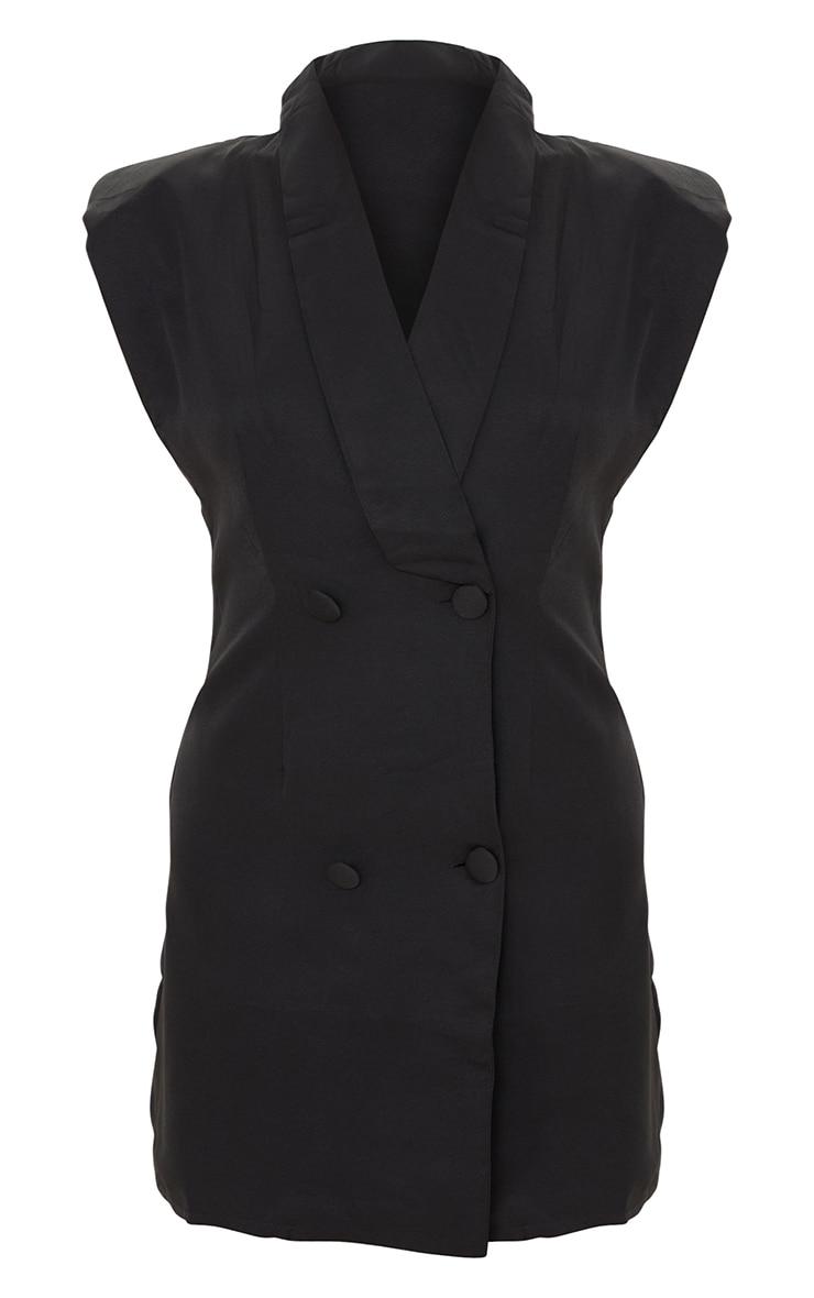 Black Sleeveless Shoulder Pad Blazer Dress 5