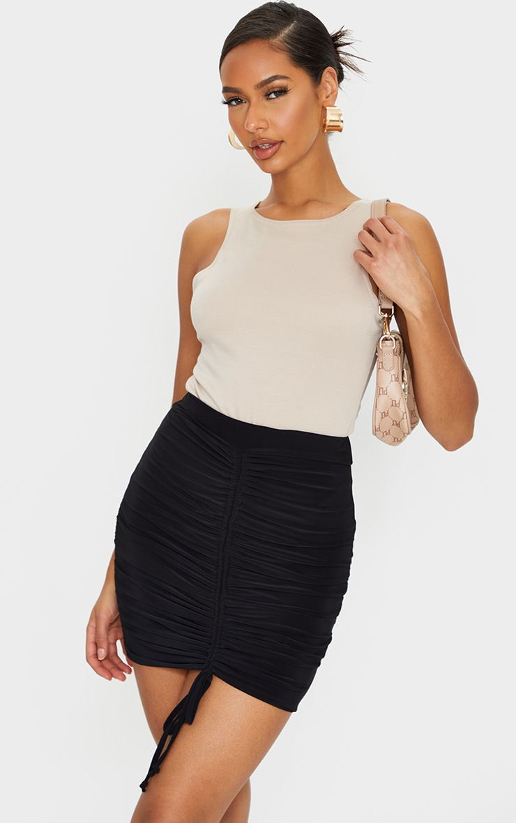 Black Ruched Front Slinky Mini Skirt 1