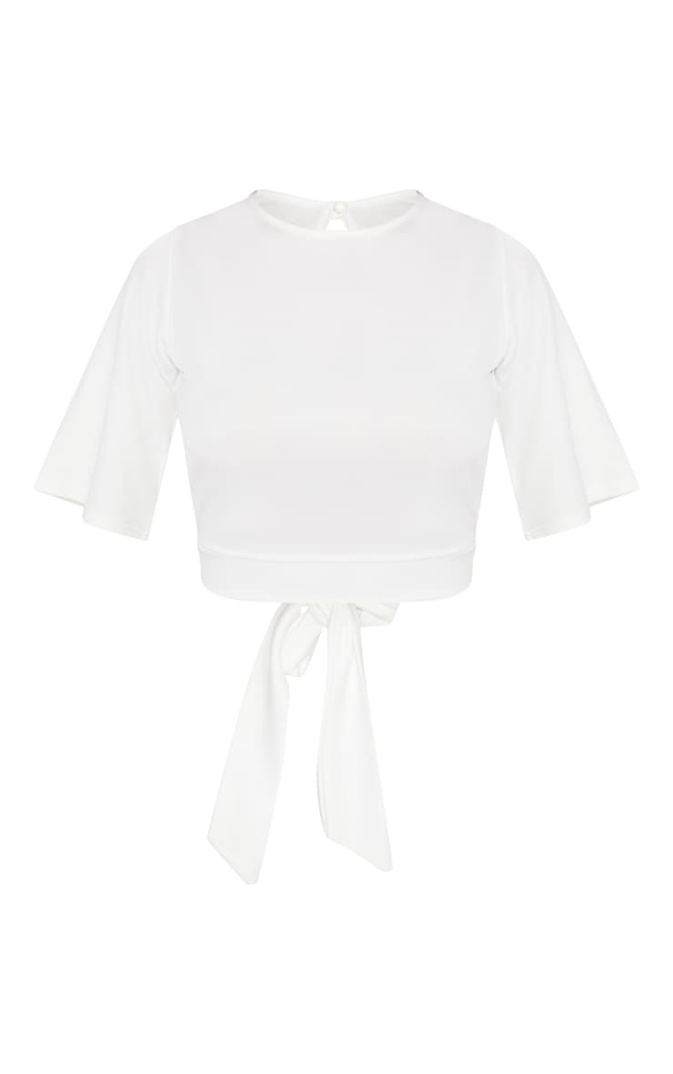 White Crepe Tie Back Crop Top 3
