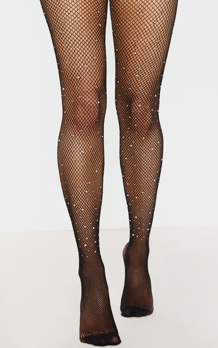 Black Sparkly Iridescence Diamante Fishnet Tights 2