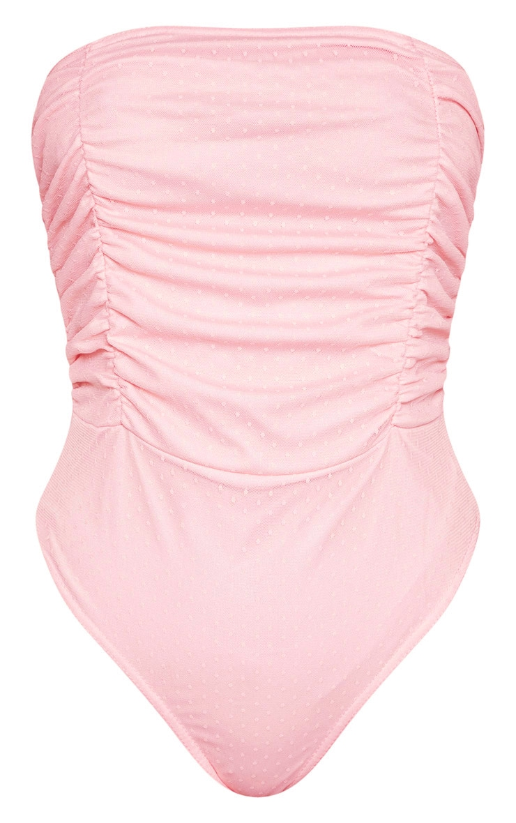 Pink Dobby Mesh Bandeau Ruched Bodysuit  3