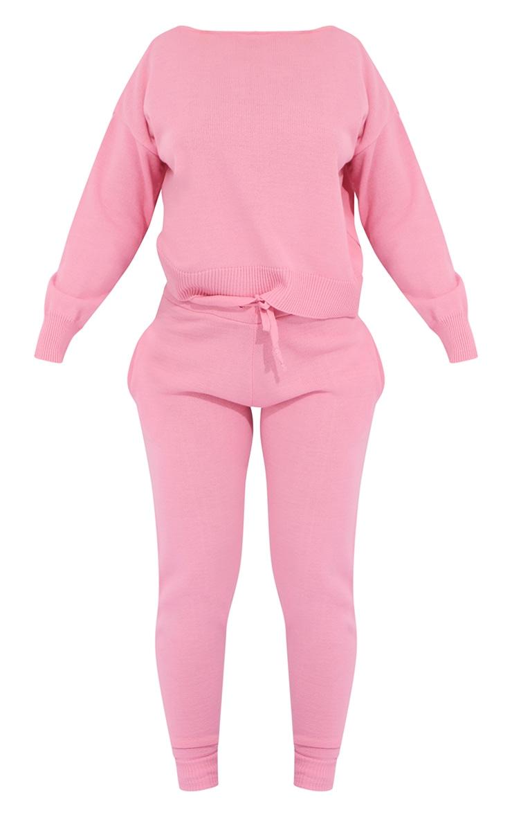 Pink Slash Neck Knitted Set 5