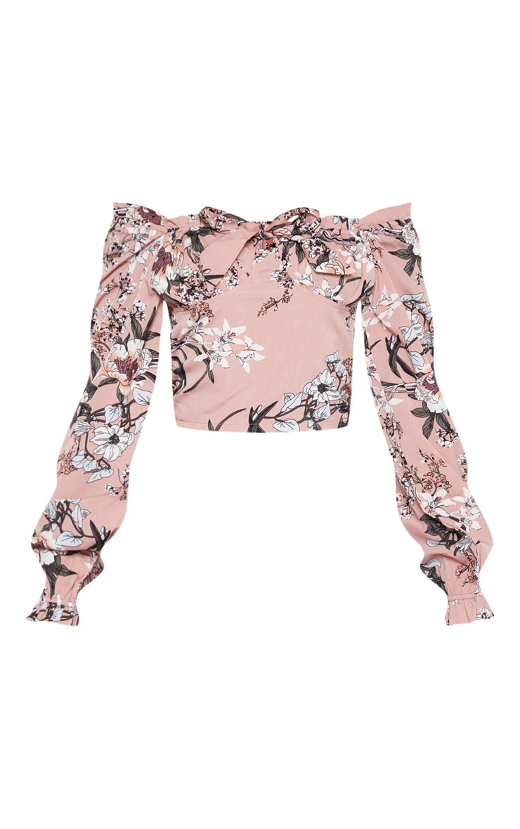 Pink Floral Woven Bardot Cropped Blouse 3