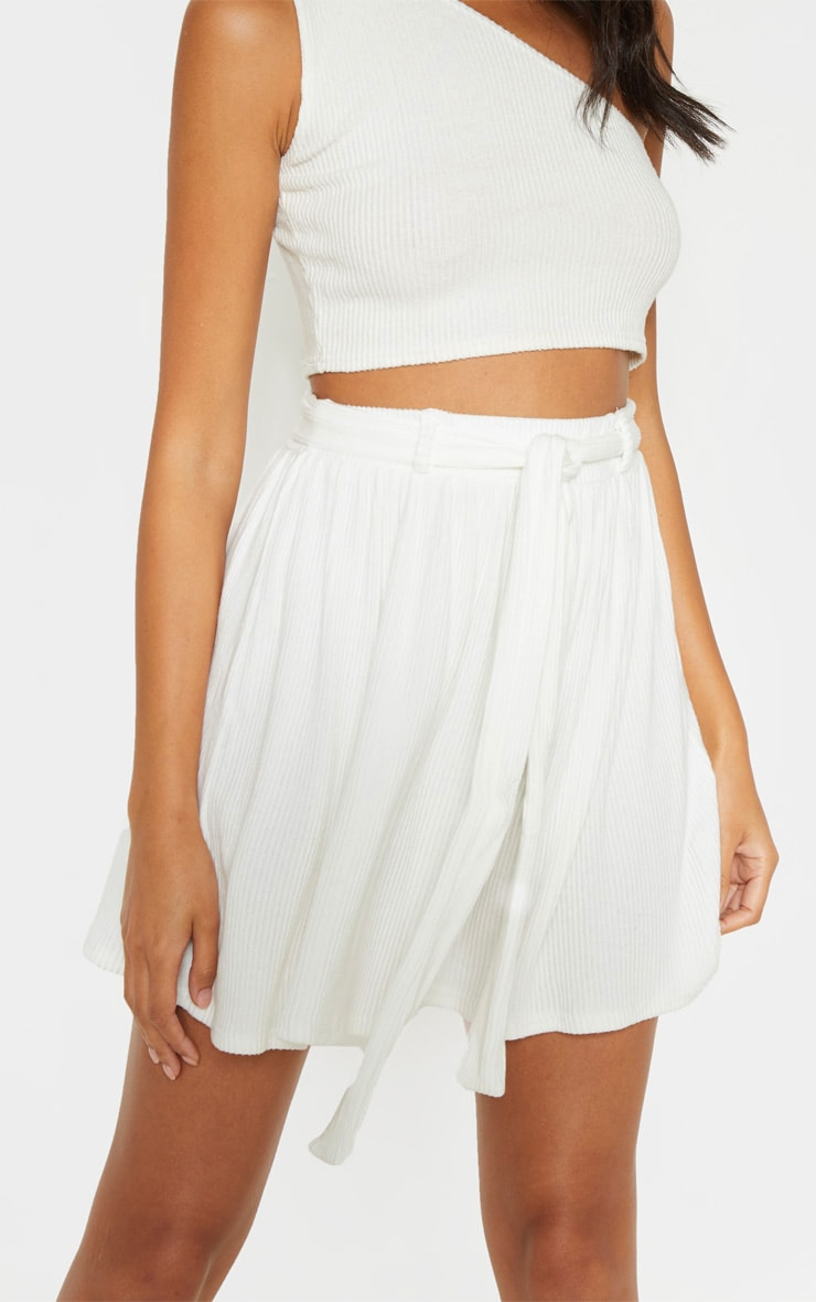 Cream Brushed Rib Tie Waist Skater Skirt 6
