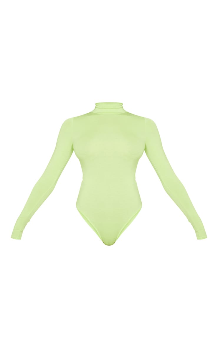 Tall Neon Lime Roll Neck Bodysuit 3
