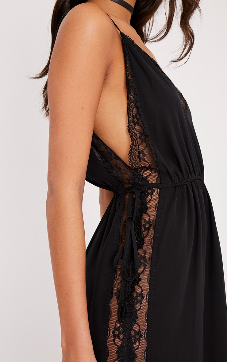 Mayliah Black Strappy Lace Side Maxi Dress 6